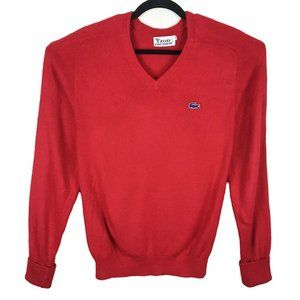 Vintage Izod Lacoste Small Red V-Neck Sweater